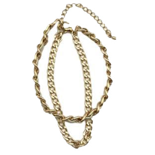 Kia Designer Inspired Double Chain Bracelet - White / Gold