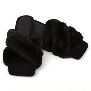 Marilyn Faux Fur Designer Inspired Slippers - Black