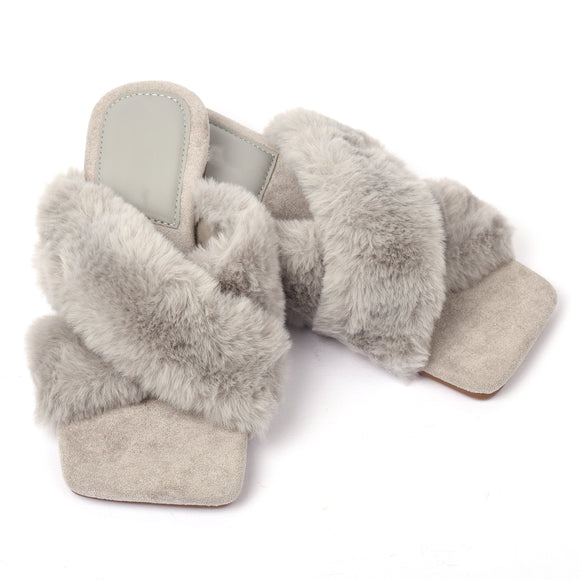 Marilyn Faux Fur Designer Inspired Slippers - Grey