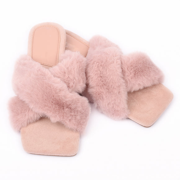 Marilyn Faux Fur Designer Inspired Slippers - Pink