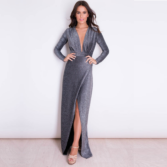 Tali Long Sleeved Shimmer Maxi Dress - Black
