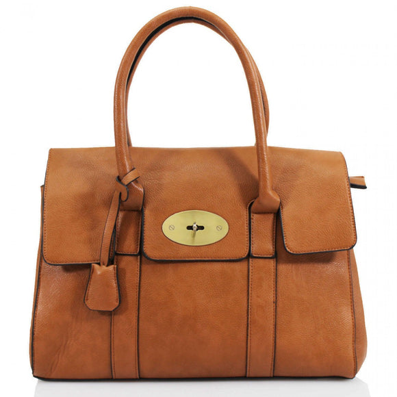 Kinley Mulberry Inspired Shoulder Bag - Tan