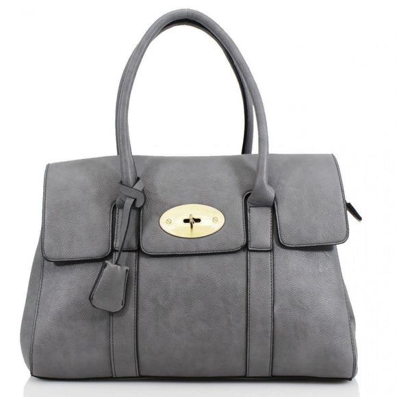 Kinley Mulberry Inspired Shoulder Bag - Grey