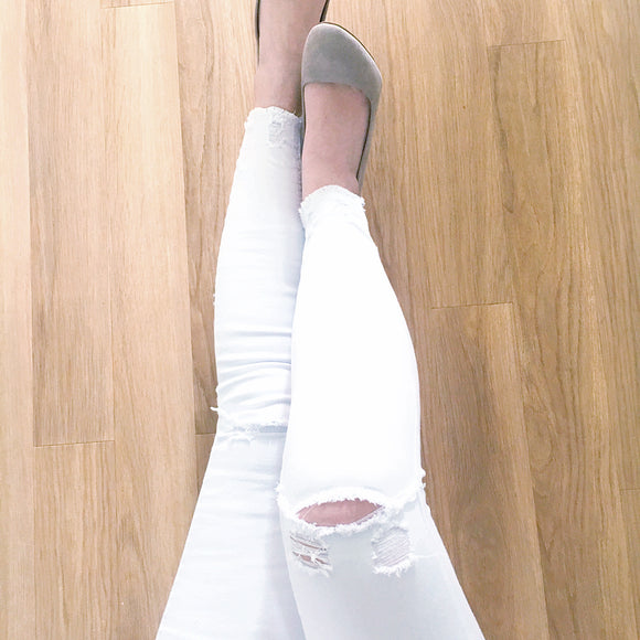 Brooke Ripped Knee Mid Waist Skinny Jeans - White