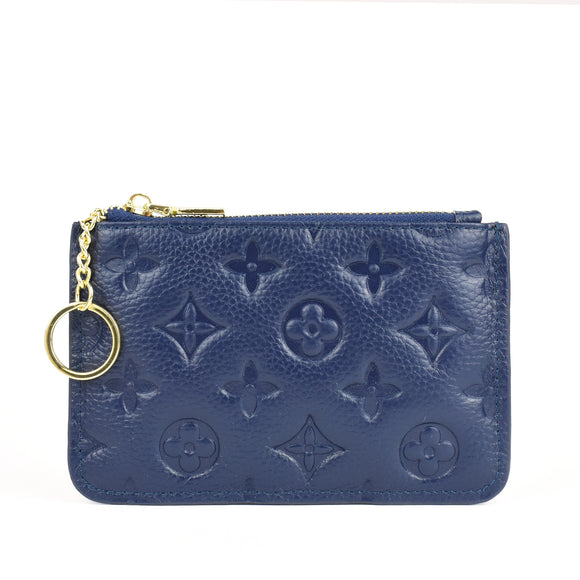 Ines Real Leather Designer Inspired Key Pouch - Navy