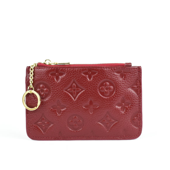 Ines Real Leather Designer Inspired Key Pouch - Wine Red