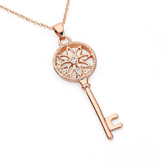 Ida Tiffany's Inspired Key Necklace - Rose Gold