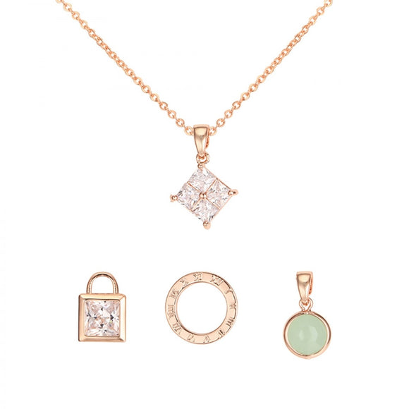 Darcie Interchangeable Charm Tiffany's Inspired Necklace - Rose Gold