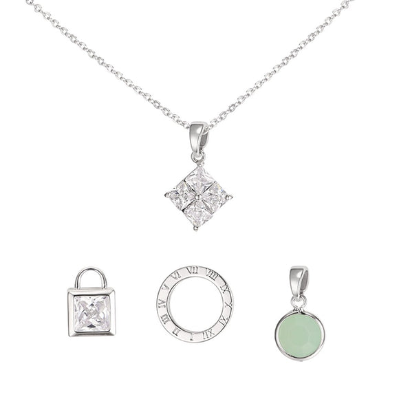 Darcie Interchangeable Charm Tiffany's Inspired Necklace - Silver
