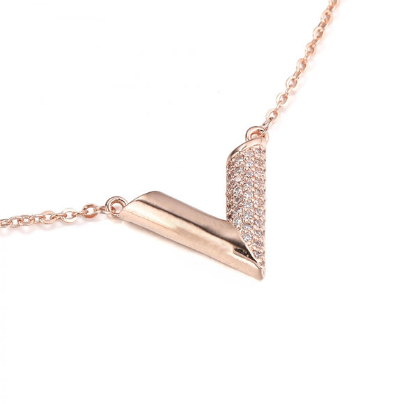 Essential V Louis Vuitton Inspired Necklace - Rose Gold
