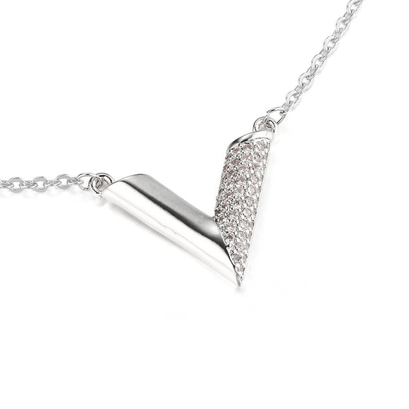 Essential V Louis Vuitton Inspired Necklace - Silver