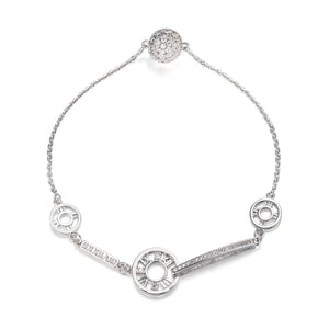 Coco Roman Numeral Tiffany's Inspired Bracelet - Silver