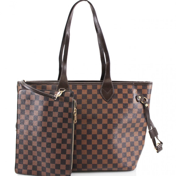 'Lets Shop' Louis Vuitton Inspired Tote Bag - Brown Check