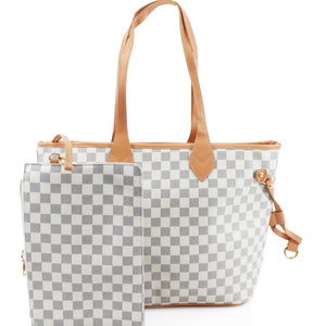 'Lets Shop' Louis Vuitton Inspired Tote Bag - White Check