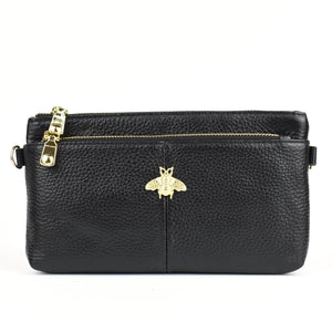 Larissa Bee Real Leather Designer Inspired Wristlet Purse - Black