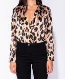 Maddison Animal Leopard Print Wrap Satin Bodysuit