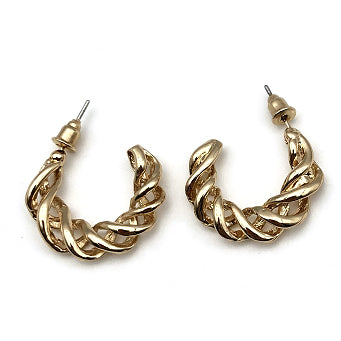 Karissa Designer Inspired Twist Hoop Earrings - Gold