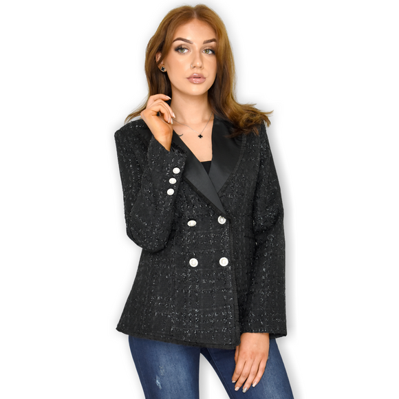 Nadine Tweed Designer Inspired Blazer - Black
