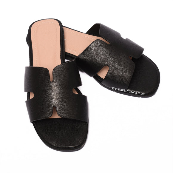 Orlie H Hermes Inspired Sandals - Black