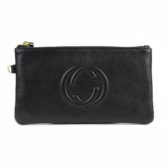 Lorelei Real Leather Designer Inspired Wristlet Purse - Black