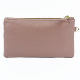Lorelei Real Leather Designer Inspired Wristlet Purse - Pink back view