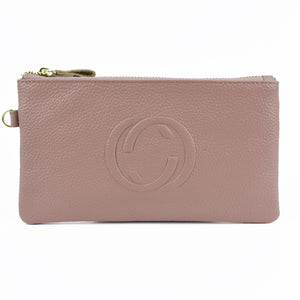 Lorelei Real Leather Designer Inspired Wristlet Purse - Pink