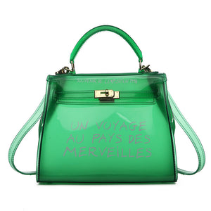 Voyage Clear Mini Hermes Inspired Bag - Green