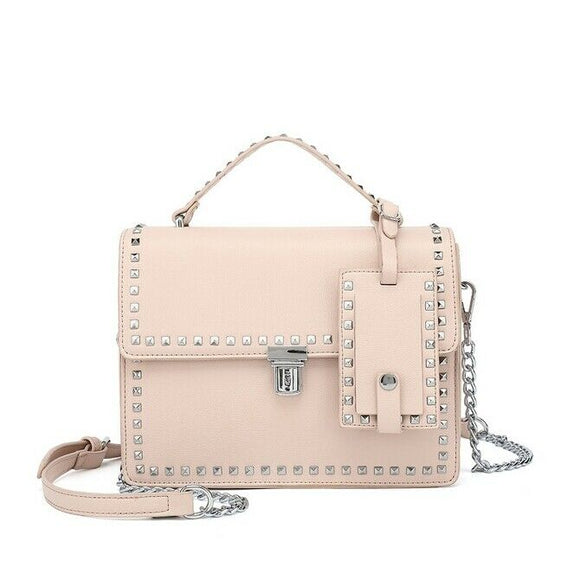 Riley Top Handle Studded Valentino Inspired Bag - Pink