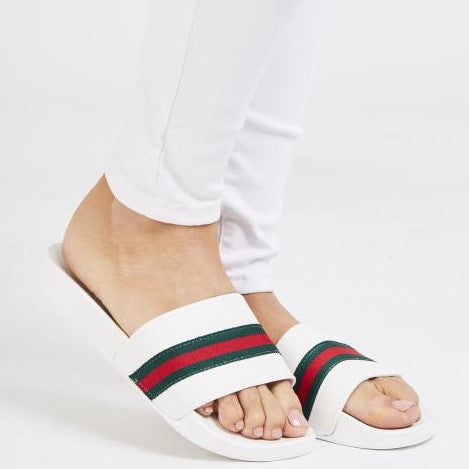 Erika Gucci Inspired Sliders - White