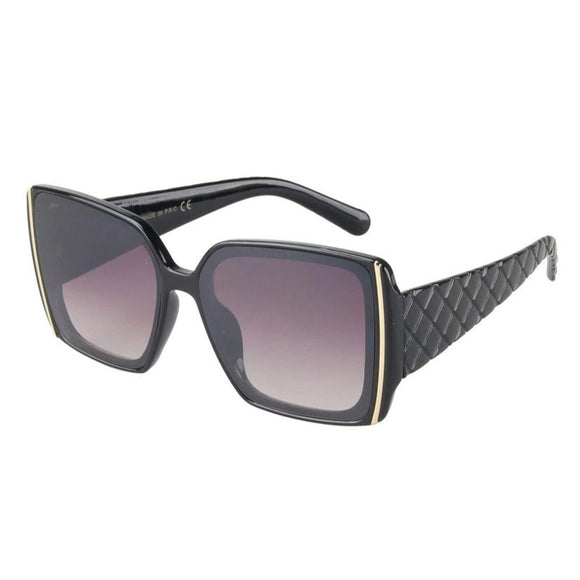Hamptons Quilted Designer Inspired Sunglasses - Black