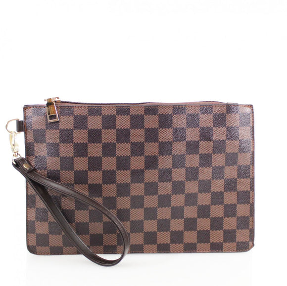 Margot Designer Inspired Clutch Bag - Brown Check