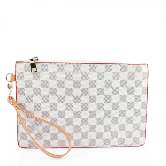 Margot Designer Inspired Clutch Bag - White Check