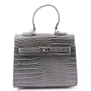Lyra Moc Croc Hermes Inspired Bag - Grey