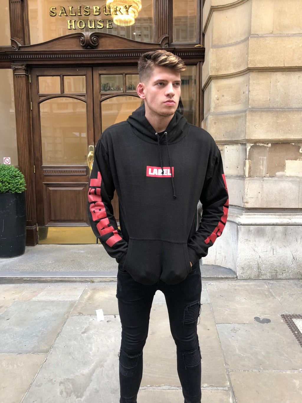 Label Logo Hoodie Black & Red