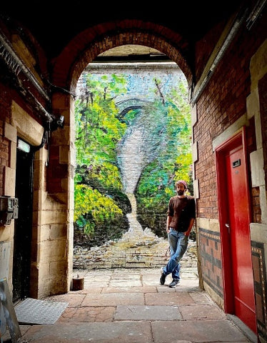 Martin Evans with his Mural 'Aira Force'