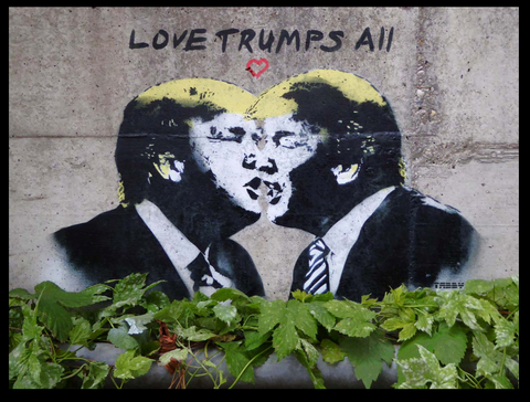 TABBY - Love Trumps All - Donald Trump Street Art