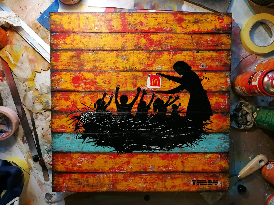 Artist: TABBY 2018 Title: Feeding Time Medium: 50cm x 50cm Spray Paint & Stencil on Aged Wood Edition: This is a Unique Work Price: £1250