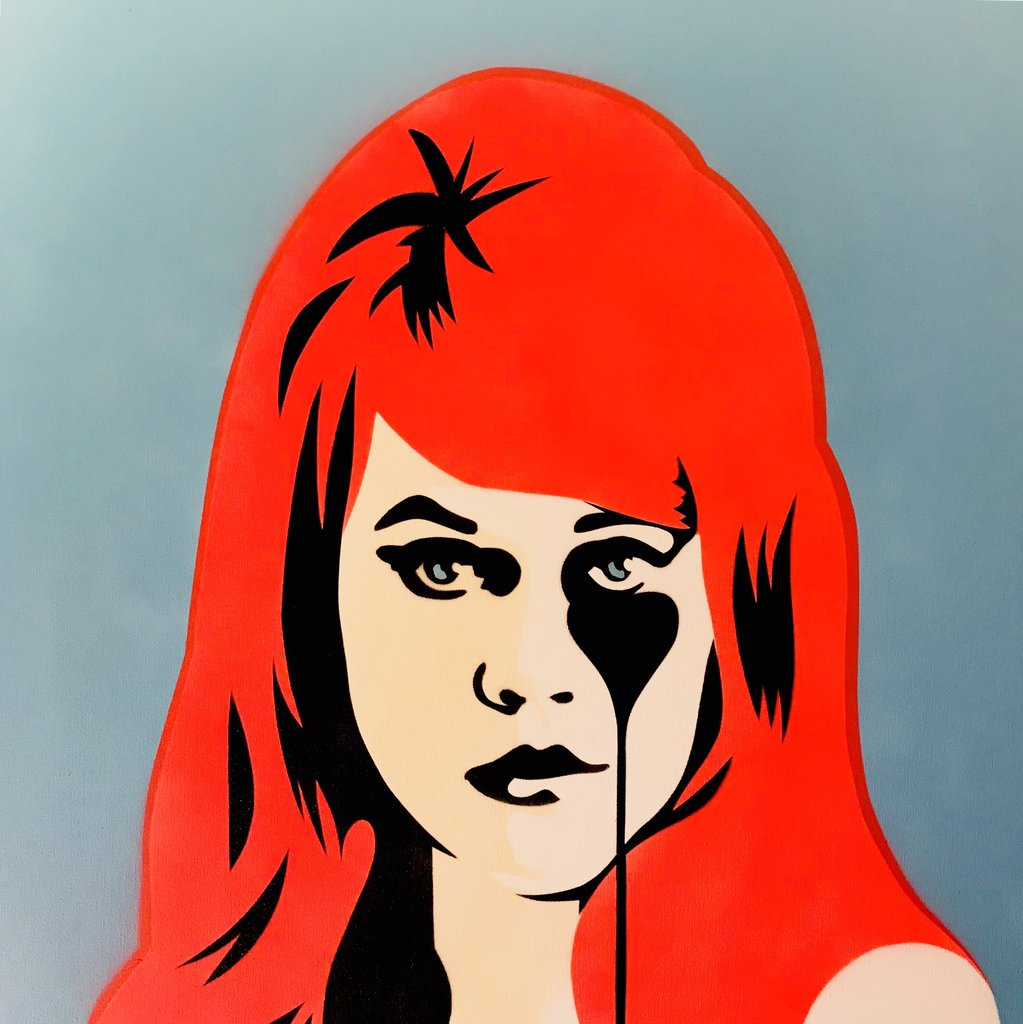 Pure Evil Jane Fonda Art Original Canvas - Sky Blue and Hot Red