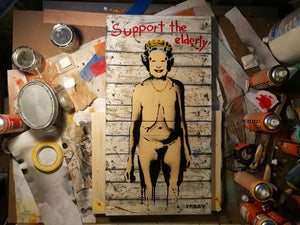 Artist: TABBY 2018 Title: Support The Elderly (Don't Leave Them Hanging) Medium: 75cm x 40cm Spray Paint & Stencil on Aged Wood Edition: This is a Unique Work Price: £3200