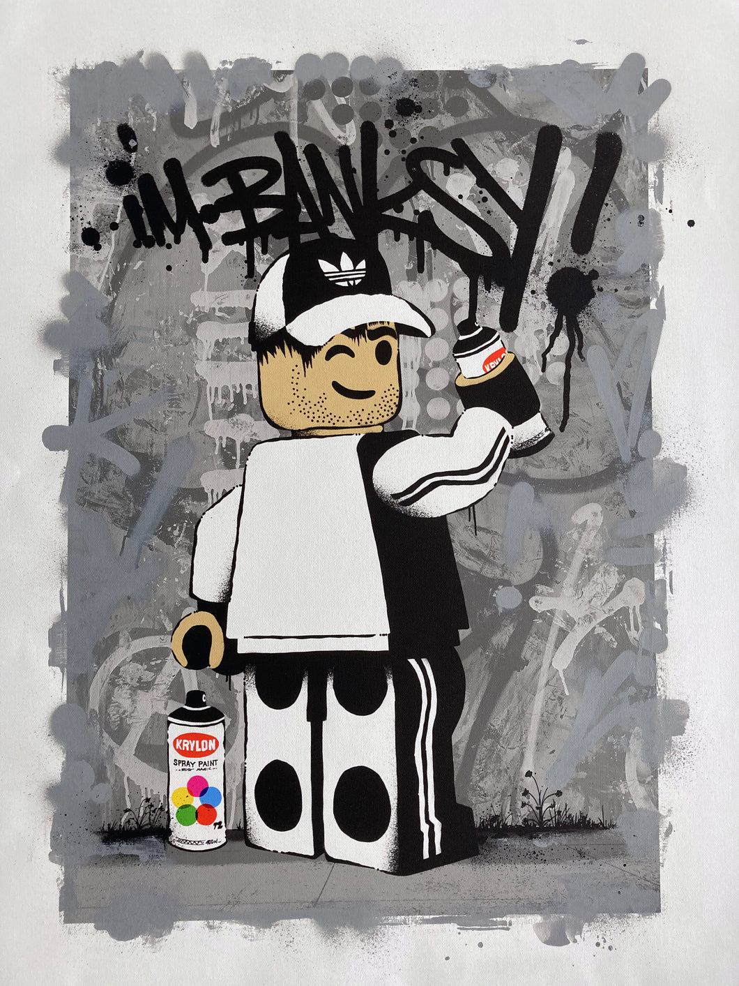 Ame72 Summer Lockdown Show Hand Embellished Canvas For Sale I'm Banksy