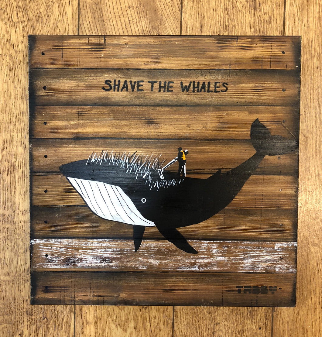 Artist: TABBY 2018 Title: Shave The Whales Medium: 40cm x 40cm Spray Paint & Stencil on Aged Wood Edition: 1/2 Price: £650