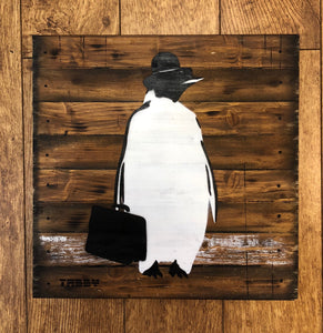 Artist: TABBY 2018 Title: Business Penguin Medium: 40cm x 40cm Spray Paint & Stencil on Aged Wood Edition: 1/2 Price: £650