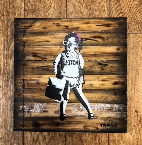 Artist: TABBY 2018 Title: Little Lady Medium: 40cm x 40cm Spray Paint & Stencil on Aged Wood Edition: 1/2 Price: £650