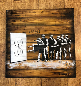 Artist: TABBY 2018 Title: CHARGE! Medium: 40cm x 40cm Spray Paint & Stencil on Aged Wood Edition: 1/2 Price: £650