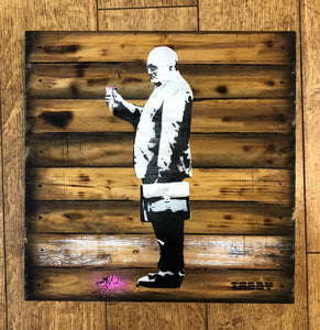 Artist: TABBY 2018 Title: Broken Ice Cream Dreams Medium: 40cm x 40cm Spray Paint & Stencil on Aged Wood Edition: 1/2 Price: £650