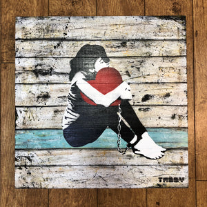 Artist: TABBY 2018  Title: Heart & Chains II  Medium: 50cm x 50cm Spray Paint & Stencil on Aged Wood  Edition: This is a Unique Work  Price: £1250