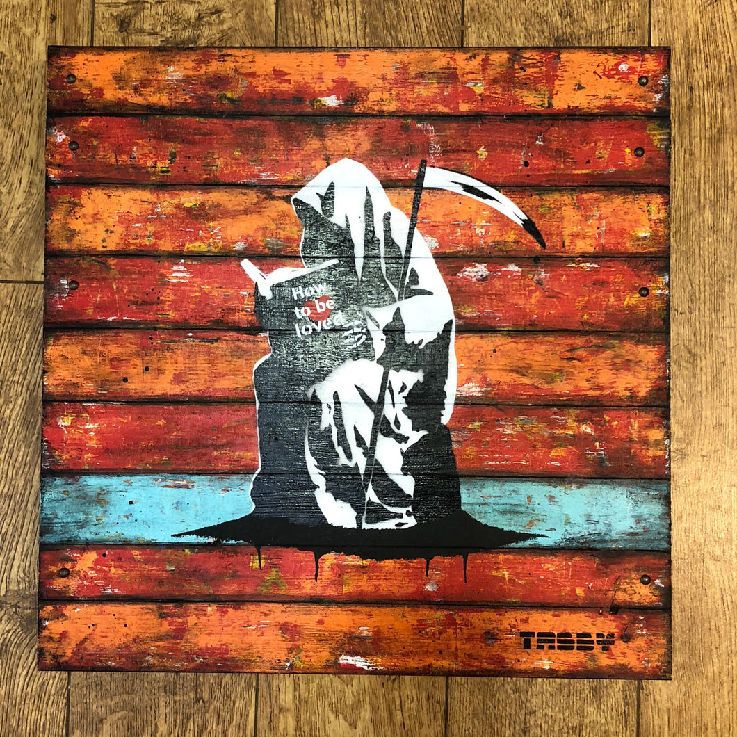 Artist: TABBY 2018  Title: How To Be Loved (Everybody needs somebody)   Medium: 50cm x 50cm Spray Paint & Stencil on Aged Wood  Edition: This is a Unique Work  Price: £1250