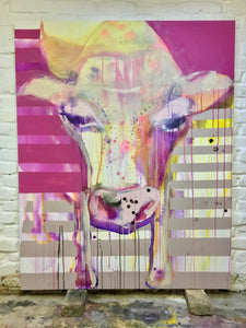 Lucie Flynn Cow Series From Disco Original Canvas