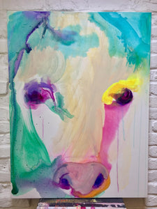 Lucie Flynn Cow Series Shy Original Canvas