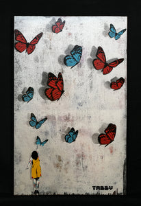 Tabby Butterfly Girl Original Blue/Red